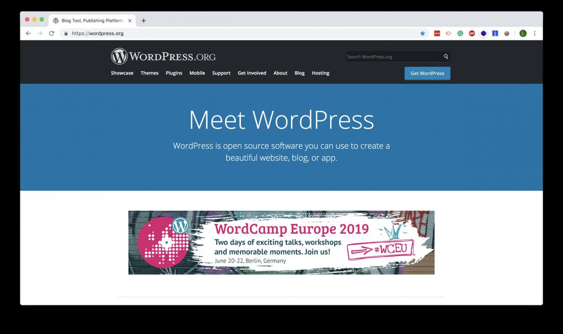 WordPress.org landing page