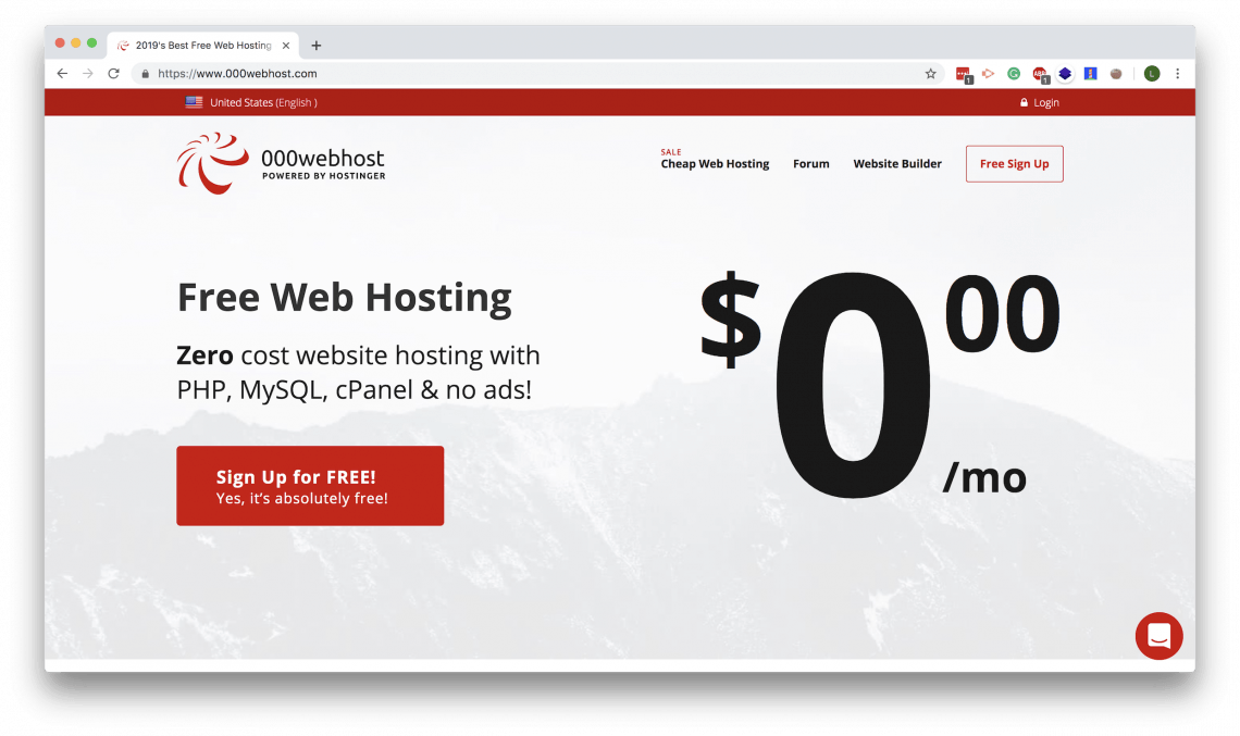 000webhost landing page. Here you can set up a free hosting service