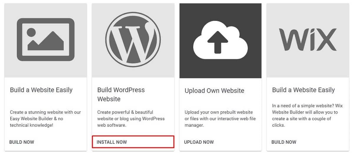 Build WordPress Website Option