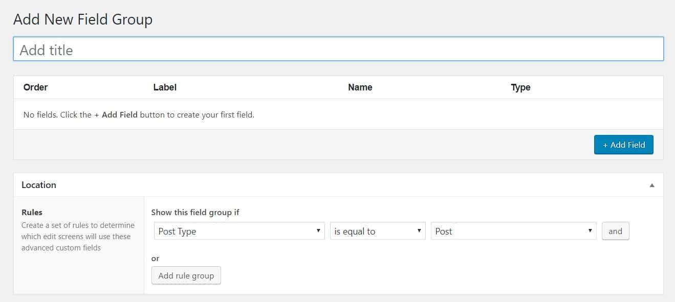 Adding new field group in WordPress custom fields