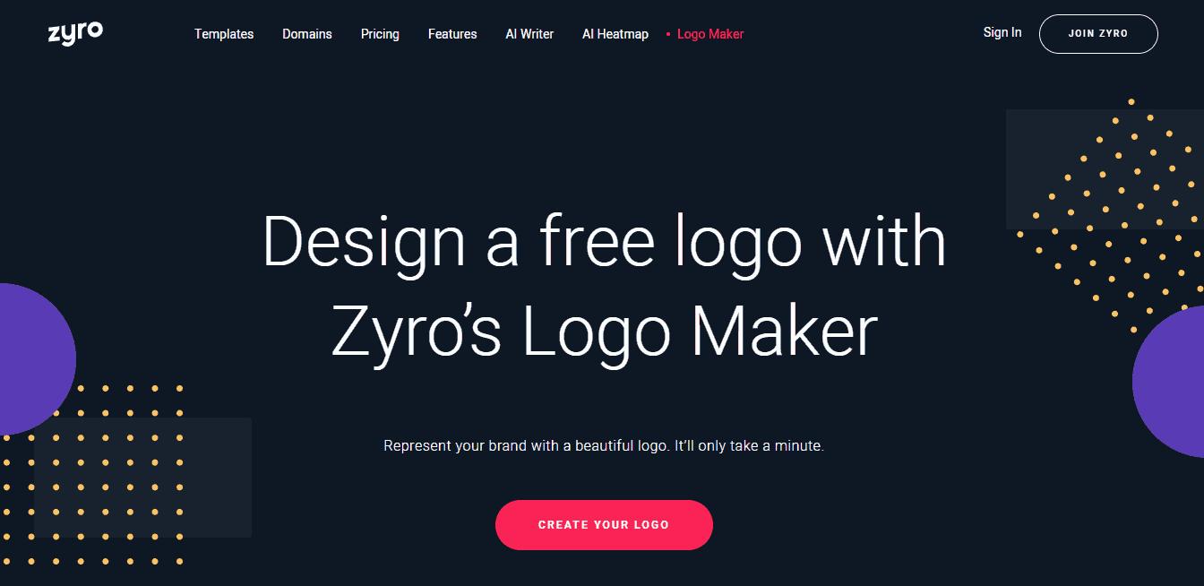 Zyro's Logo Maker landing page