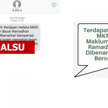 dakwaan mesej kononnya dari mkn memaklumkan bahawa bazar ramadhan 2020 dibenarkan untuk beroperasi adalah palsu