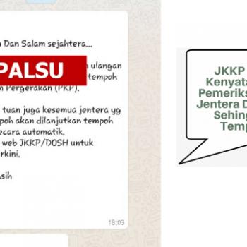 pihak jkkp tidak pernah keluarkan kenyataan bahawa pemeriksaan ulangan jentera ditangguhkan sehingga tamat tempoh pkp