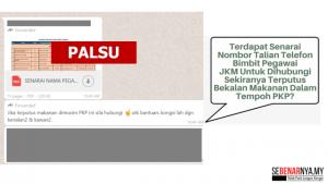senarai nombor talian telefon bimbit pegawai jkm untuk bantuan bekalan makanan terputus dalam tempoh pkp adalah palsu