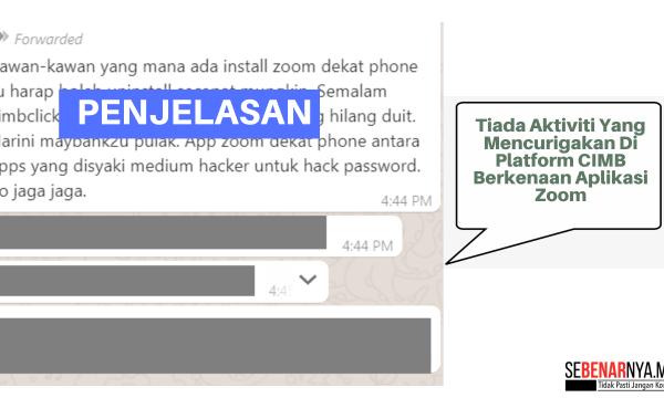 tiada aktiviti yang mencurigakan di platform cimb berkenaan aplikasi zoom