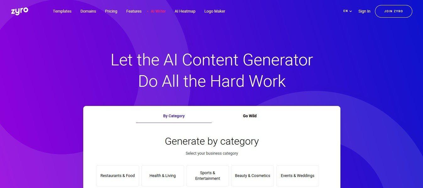 Zyro AI generator