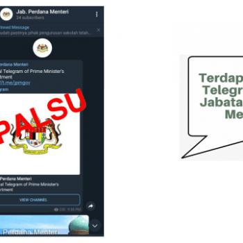 akaun telegram yang diwujudkan atas nama jab perdana menteri adalah akaun palsu