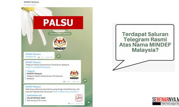 saluran telegram atas nama mindef malaysia adalah palsu