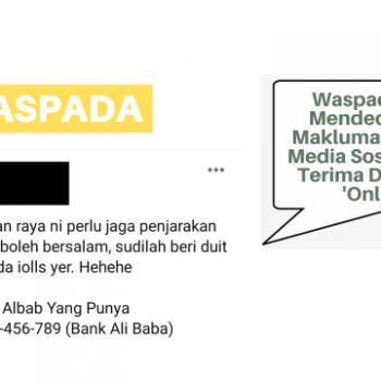 waspada dari mendedahkan maklumat bank di media sosial untuk terima duit raya dalam talian online