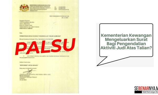 kementerian kewangan tidak pernah mengeluarkan surat permohonan untuk syarikat pengendalian aktiviti judi atas talian