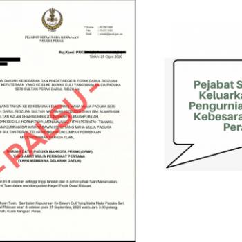 surat pengurniaan darjah kebesaran negeri perak kononnya dikeluarkan oleh pejabat suk perak adalah palsu