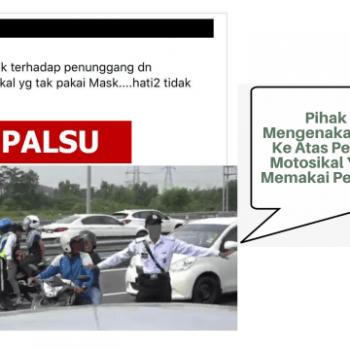 tindakan kompaun ke atas penunggang motosikal bagi kesalahan tidak memakai pelitup muka adalah tidak benar
